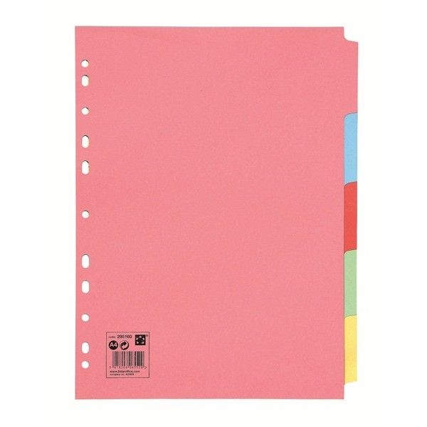 A4 Multipunched Subject Dividers Assorted 5 Part