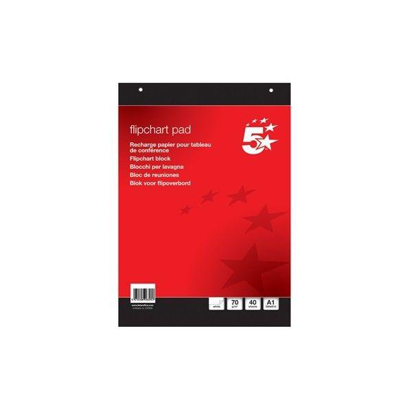 A1 Plain Flipchart Pad 40 Sheets Pack Of 5