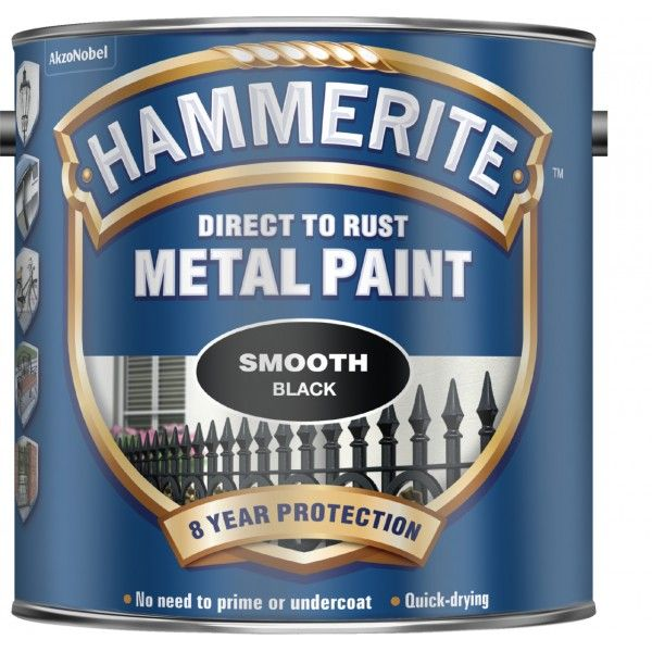 Direct To Rust Metal Paint Smooth Black 2.5 Litre