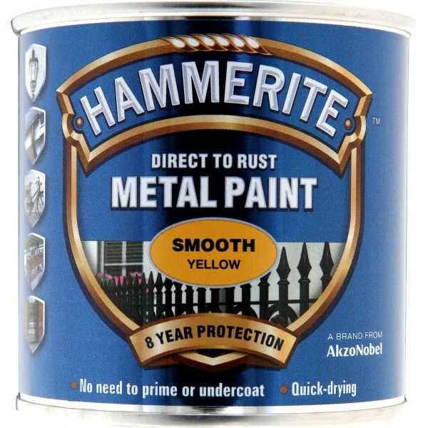 Direct To Rust Metal Paint Smooth Yellow 250Ml