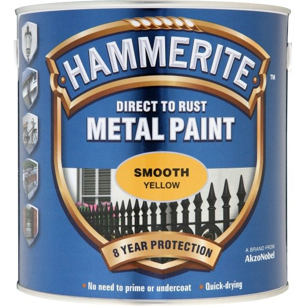 Direct To Rust Metal Paint Smooth Yellow 2.5 Litre