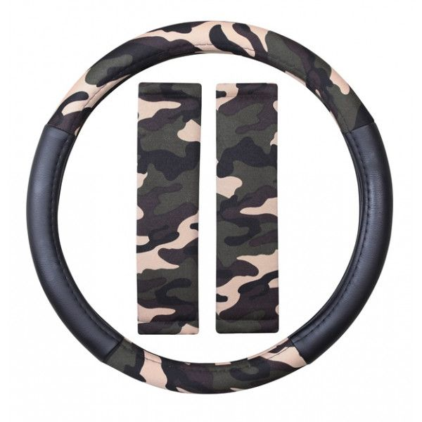 Steering Wheel Cover Seat Belt Pads Camouflage