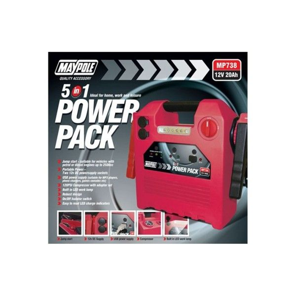 Power Pack 12V 20Ah 120Psi Compressor With Usb And Light