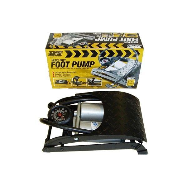 Foot Pump Heavy Duty Analogue Gauge Twin Barrel