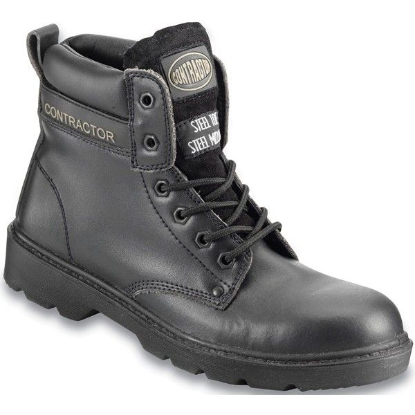 Leather 6In. Safety Boots S3 Black Uk 8