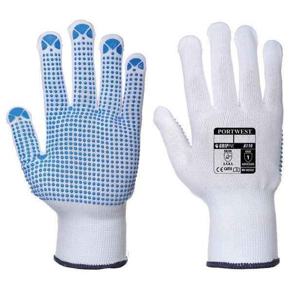 Nylon Polka Dot Gloves Whiteblue Small Pack Of 12