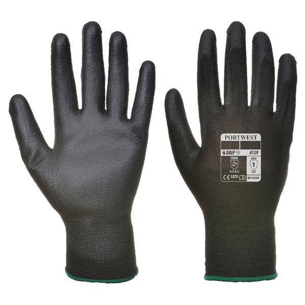 Pu Palm Glove Black Large Pack Of 12