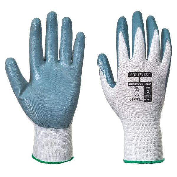 Flexo Nitrile Grip Glove Grey White Large Pack Of 12