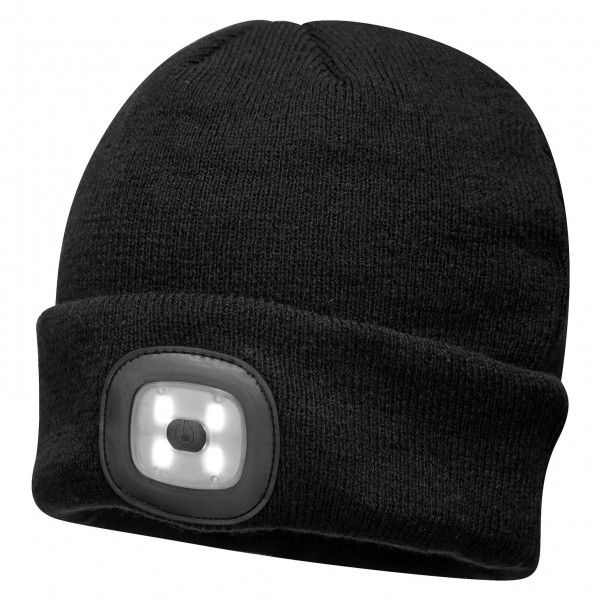 Twin Led Beanie Head Light Hat Black