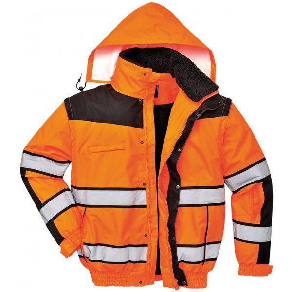 Hivis Bomber Jacket Orangeblack Medium