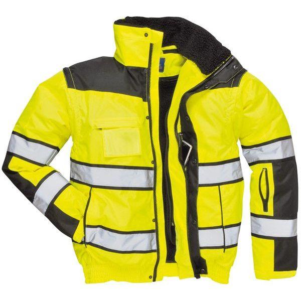 Hivis Bomber Jacket Yellowblack Large