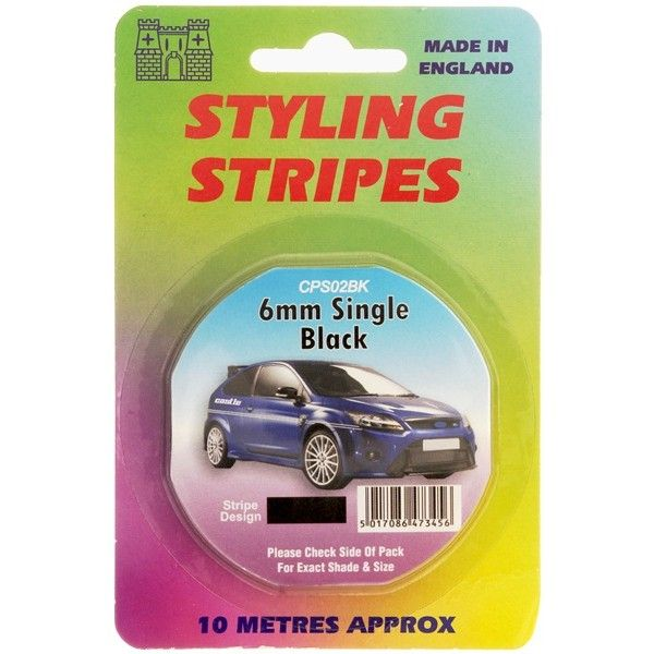 Single Stripe Black 6Mm 10M Length
