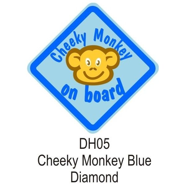 Suction Cup Diamond Sign Blue Cheeky Monkey