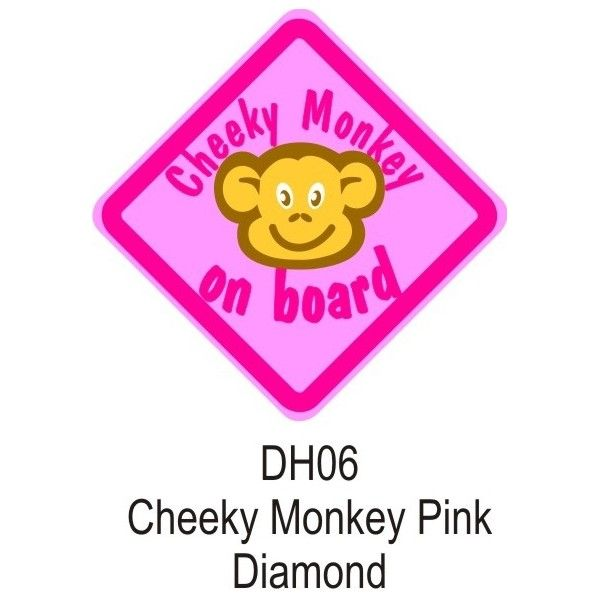 Suction Cup Diamond Sign Pink Cheeky Monkey