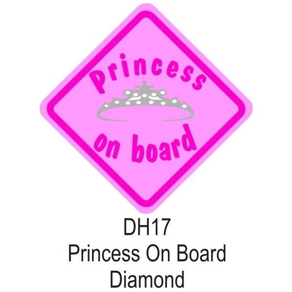 Suction Cup Diamond Sign Pink Princess On Board