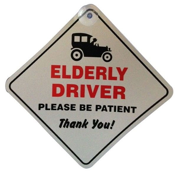 Suction Cup Diamond Sign White Elderly Driver