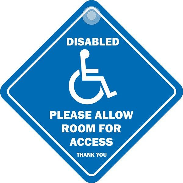 Suction Cup Diamond Sign Disabled Please Allow Room For Access