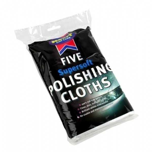Cotton Polishing Cloths White Pack Of 5