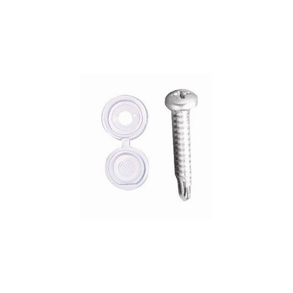 Number Plate Drill Screws Caps White Pack Of 20