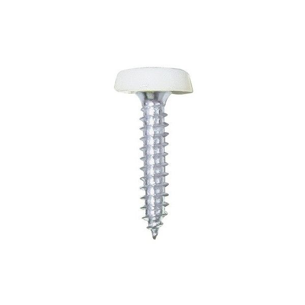 Number Plate Plastic Top Screw White Pack Of 2