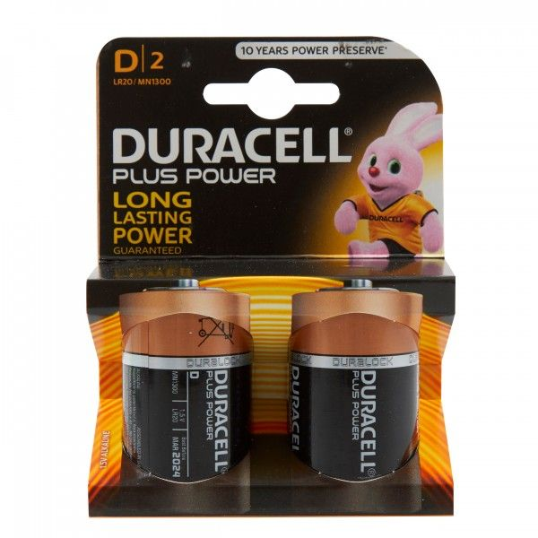Plus Power Alkaline D Batteries Pack Of 2