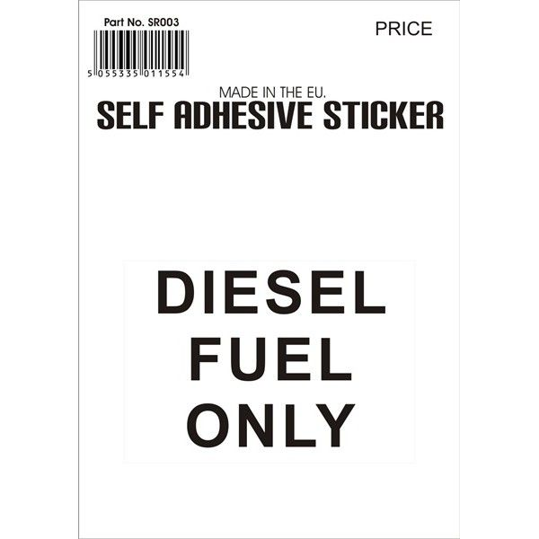 Outdoor Vinyl Sticker Black Diesel Fuel Only
