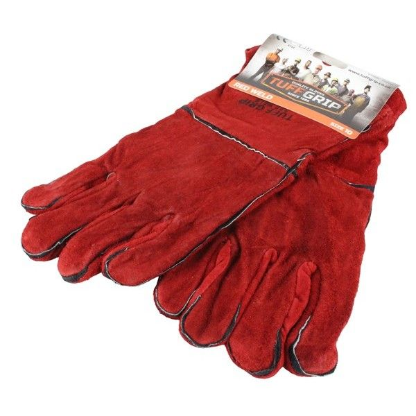 Welders Gauntlets Leather Lined Red