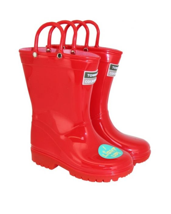 Town & Country Kids Light Up Wellies Red