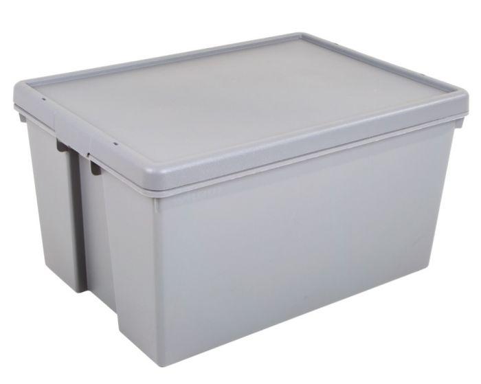 Wham 100% Upcycled Heavy Duty Box & Lid 92L Grey