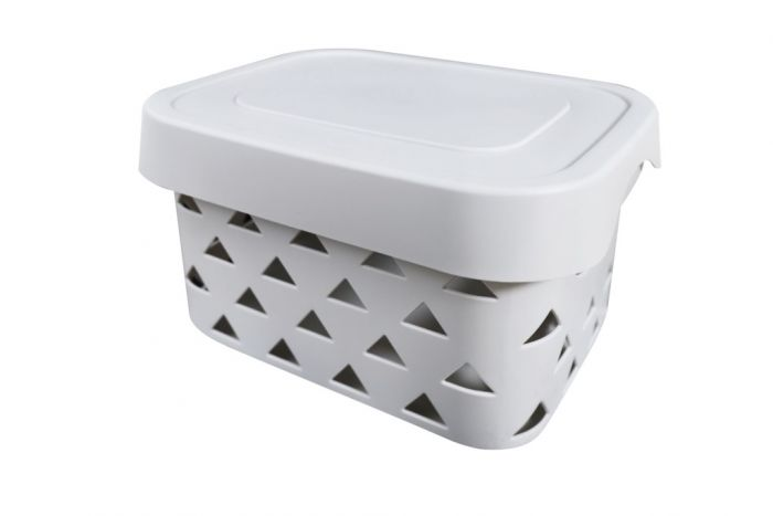 Blue Canyon Pyramids Storage Box With Lid Light Grey