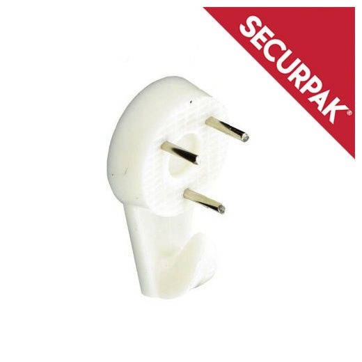 Securpak White Hard Wall Picture Hook 32mm Pack 4
