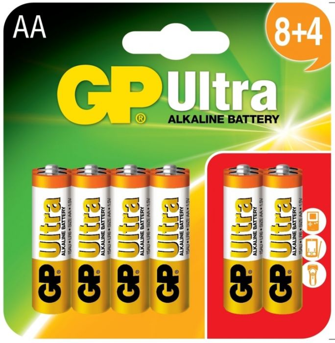 GP Ultra Alkaline Batteries Card Of 12 AA