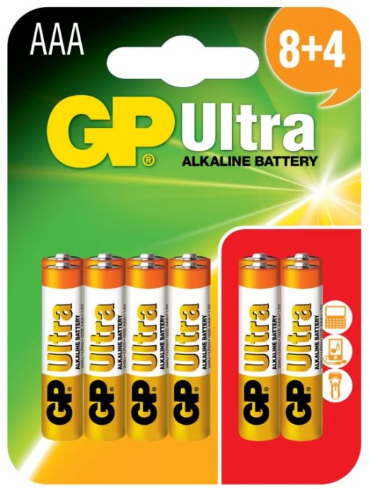 GP Ultra Alkaline Batteries Card Of 12 AAA