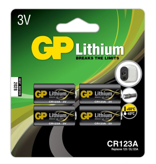 GP Lithium Batteries CR123A Pack 4