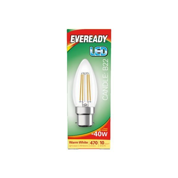 Eveready LED Filament Candle 470LM B22 BC 4W 27000K