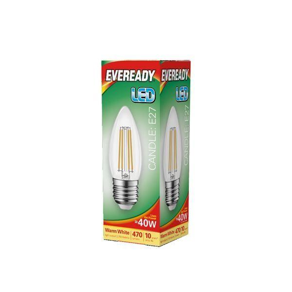 Eveready LED Filament Candle 470LM E27 ES 4W 27000K