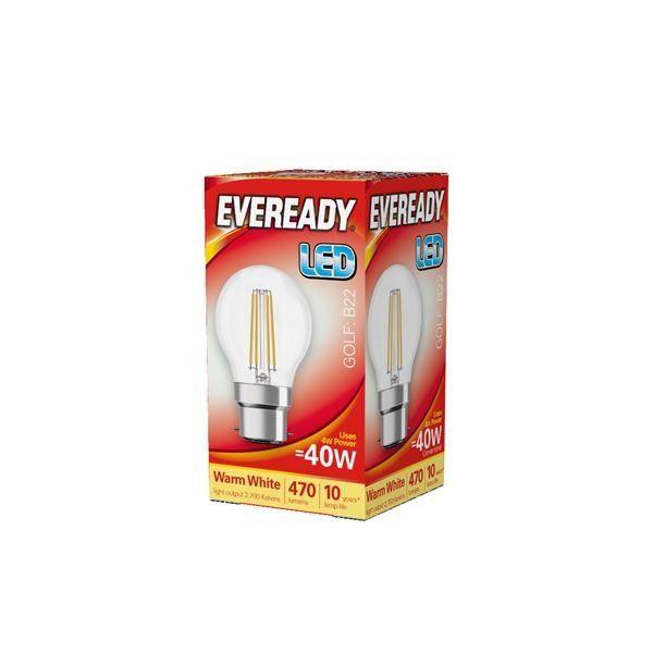 Eveready LED Filament Golf 470LM B22 BC 4W 27000K
