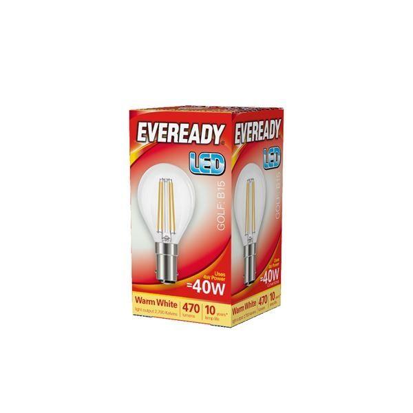 Eveready LED Filament Golf 470LM B15 SBC 4W 27000K
