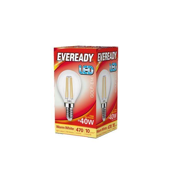 Eveready LED Filament Golf 470LM E14 SES 4W 27000K