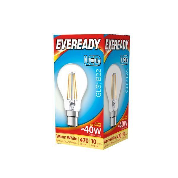 Eveready LED Filament GLS B22 470LM BC 4W 27000K
