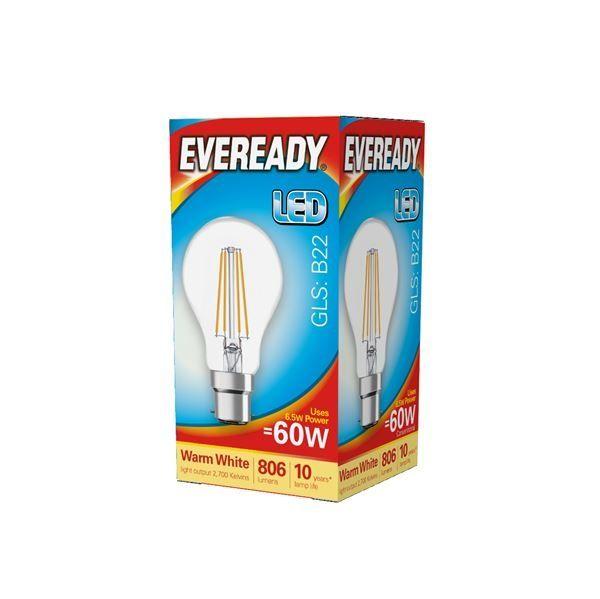 Eveready LED Filament GLS B22 806LM BC 6.5W 27000K