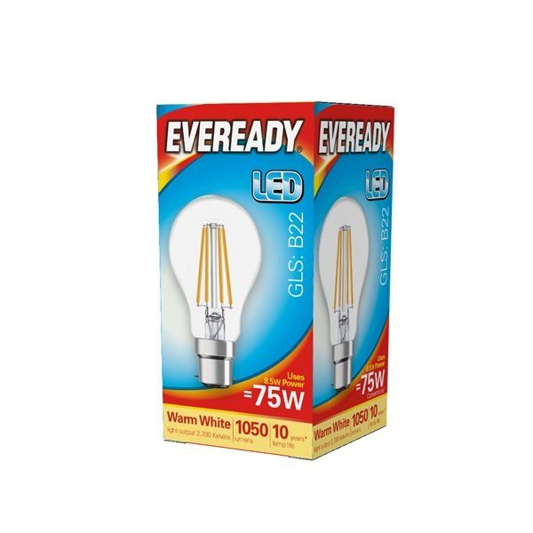 Eveready LED Filament GLS B22 1050LM BC 8.5W 27000K