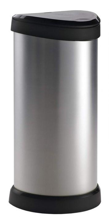 Curver Deco Black & Silver Push Bin 40L