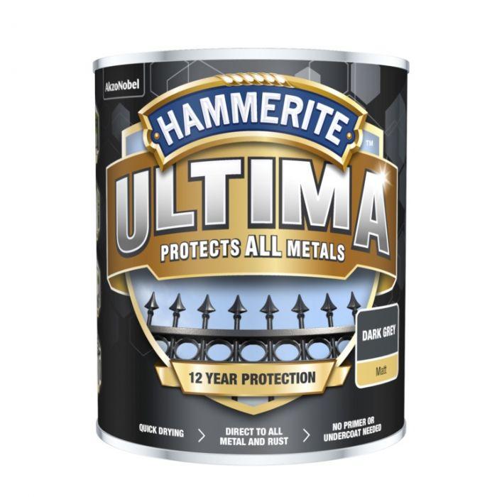 Hammerite Ultima Matt All Metal Paint 750ml Dark Grey