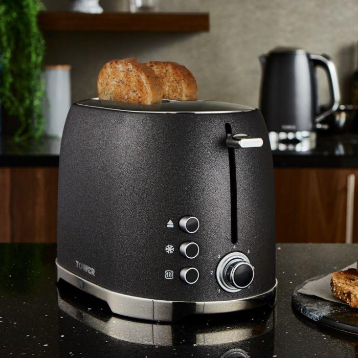 Tower Glitz Toaster Black 2 Slice