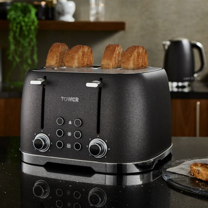 Tower Glitz Toaster Black 4 Slice