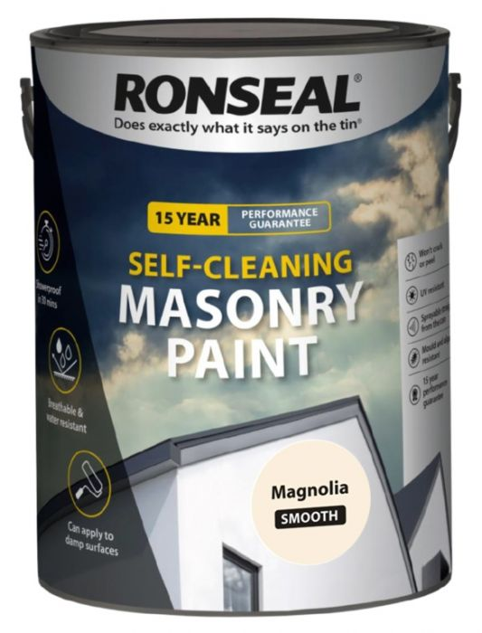 Ronseal Self Cleaning Smooth Masonry Paint 5L Magnolia