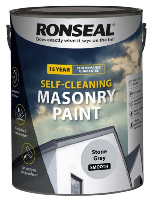 Ronseal Self Cleaning Smooth Masonry Paint 5L Stone Grey