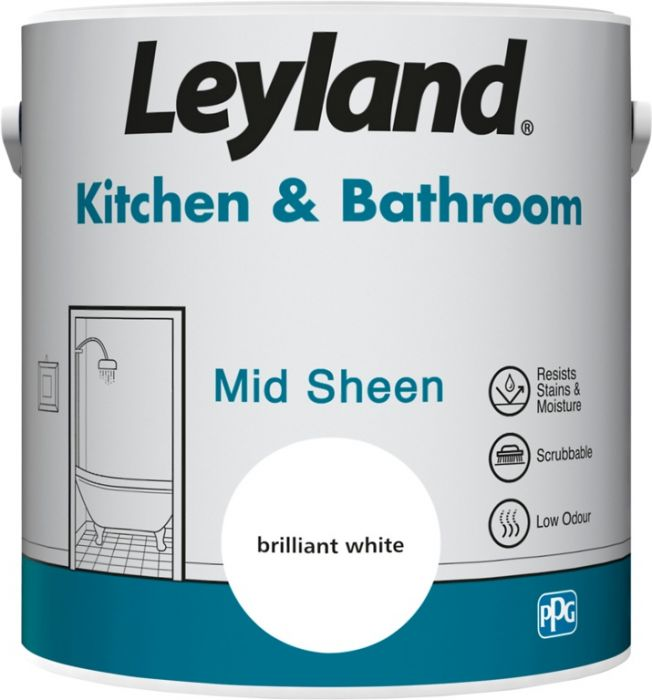 Leyland Kitchen & Bathroom Mid Sheen Brilliant Whi 2.5ltr