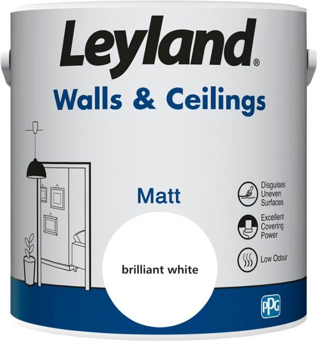 Leyland Walls & Ceilings Matt Brilliant White 2.5ltr